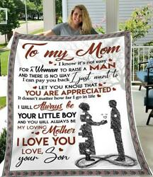 [customized] To My Mom I Love You From Son Quilt Fleece Blanket Printing In Us