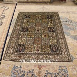 Yilong 4and039x6and039 Handmade Classic Silk Carpets Four Seasons Antique Area Rugs 465b