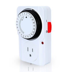 24Hour Plug in Wall Mechanical Programmable 15 Minute Interval Timer Outlet Plug