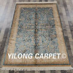 Yilong 4.5and039x6.5and039 Handmade Carpets Blue All Over Hand Knotted Silk Area Rug Zz060