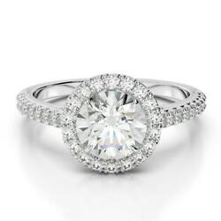 Marriage Exquisite Round Diamond Ring 1.6 Ct F Si1 18k White Gold Side Stones