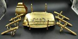 French Christofle Gold Asparagus Holder Tray Figural Tongs And Serving Tong Set
