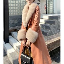Parka Winter Womens Full Real Leather Duck Down Jacket Fox Fur Collar V Neck New