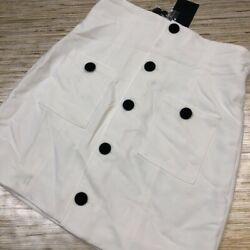 Q-150 NBD A Line Skirt Ivory Black Buttons Pockets Stretch Cute Casual M Defect