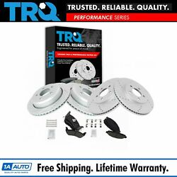 Trq Front And Rear Ceramic Brake Pad And Performance Drilled Slotted Rotor Kit