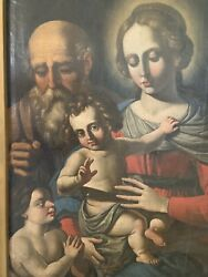 17th C. Madonna Italian Oil Panting Holy Family With Baby John The Baptist