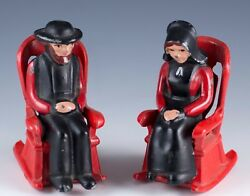 Vintage Diecast Metal Amish Man And Lady In Rocking Chairs Salt And Pepper Shakers
