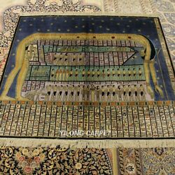 Yilong 4.5and039x4and039 300lines Egypt Tapestry Rug Porch Hand Knotted Silk Carpets L119a