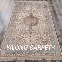 Yilong 5'x8' Hand Knotted Classic Silk Rugs Carpets Floor Decor Rugs Y310ab