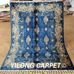 Yilong 4.3'x6.2' Handmade Silk Rugs Blue Classic Style Hand Knotted Carpets 1716