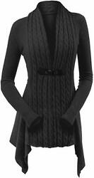 KENANCY Womens Cable Knit Buckle Asymmetrical Long Cardigan V-Neck Open Front Sw