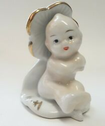 VINTAGE FIGURINE PIXIE BABY FLOWER CHILD PORCELAIN JAPAN