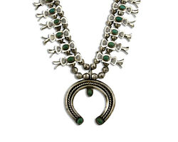 Navajo Squash Necklace .925 Silver Green Turquoise Artist Tobe Turpen Pawn Vault