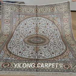 Yilong 8'x10' Beige Silk Area Rug Hand Knotted Antique Carpets Handmade 1277