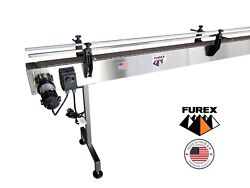 Furex Stainless Steel 10and039 X 4 Inline Conveyor With Plastic Table Top Belt