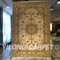 Clearance Yilong 4and039x6and039 Handmade Wool Rug Parlor Hand Knotted Woolen Carpet 2098