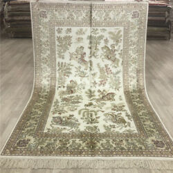 Yilong 4and039x6and039 Inerior Silk Hand Knotted Carpets Hunting Scenes Handmade Rug 042b