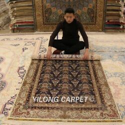 Yilong 4'x6' Blue All Over Handmade Carpets Classic Hand Knotted Silk Rug Zz039