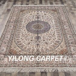 Yilog 6and039x9and039 Classic Hand Knotted Silk Carpet Medallion Living Room Area Rug 028m
