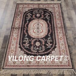 Yilong 4and039x6and039 Classic Handmade Carpet Hereke Hand Knotted Silk Antique Rugs 064m