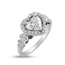 Exclusive 1.75 Ct D Si2 Heart Shape Diamond Ring 14 K White Gold Ladies