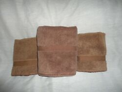 Vintage Avenue Brown 3pc Washcloths And Hand Towel Set