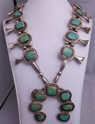 Native American Indian Sterling Silver Beaded Turquoise Squash Blossom Necklace