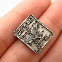 925s Sterling Silver Vintage American Association Retired Persons Pin Brooch