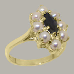 Solid 18ct Yellow Gold Natural Sapphire And Full Pearl Womens Cluster Ring