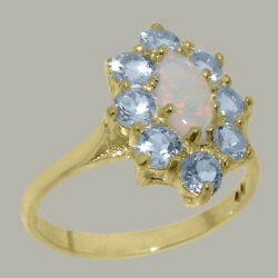 Solid 18ct Yellow Gold Natural Opal And Aquamarine Womens Cluster Ring