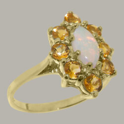 Solid 18ct Yellow Gold Natural Opal And Citrine Womens Cluster Ring - Sizes J To Z