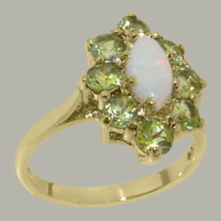 Solid 18ct Yellow Gold Natural Opal And Peridot Womens Cluster Ring - Sizes J To Z