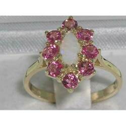 Solid 18ct Yellow Gold Natural Opal And Pink Tourmaline Womens Cluster Ring