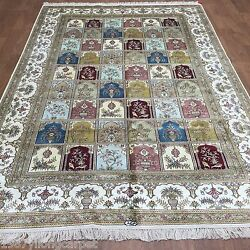 Yilong 6and039x9and039 Hand Knotted Rugs Classic Garden Scenes Oriental Silk Carpets L48b