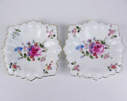 Set 2 X Square Candy Nut Pin Dishes Royal Crown Derby Posies Vintage
