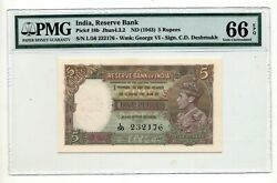 India 5 Rupees Nd 1943 W/ King George Pick 18b Pmg 66 Unc