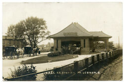 Rppc Ohio Mt Vernon Chandcrr Railroad Station Depot With Wagons