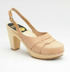 Swedish Hasbeens Shoes 60s Slingback Clog Heel Nature Leather 38