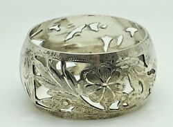 Sterling Silver Napkin Ring Holder Flowers Floral Bright Cut Open Work Pierced