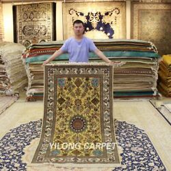 Yilong 3.5'x5.75' Golden Silk Tapestry Antique Carpet Hand Knotted Area Rug 311h
