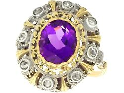 Antique 5.92ct Amethyst And 0.32ct Diamond 18k Yellow Gold And Silver Set Ring