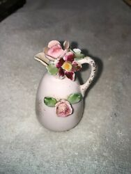Vintage Lefton China Small Water Pitcher With Pink Roses In It