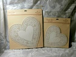 2 Vintage Sealed Packs French Lace Paper Heart Doilies Hallmark 6 And 8 Usa