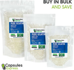 Size 0 Clear Empty Gelatin Gelcaps Pill Capsules Kosher Gluten-free Made In Usa