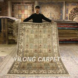 Yilong 5and039x8and039 Classic Handmade Silk Rugs Garden Scenes Hand Knotted Carpets 023b