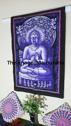 Tapestry Blue Color Batik Lord Buddha Hippie Dorm Decor Wall Hanging Table Cover
