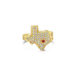Texas Shaped Diamond Nugget Ring - 14k Solid Yellow Gold .70cttw Texas Strong