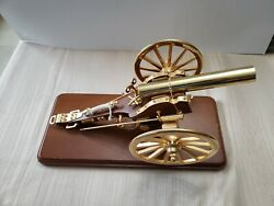 Vintage Brass Cannon On Wood Stand Music Box Plays Battle Hymn Of The Republic