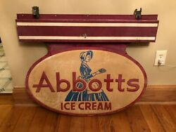Vintage Abbottand039s Ice Cream 1940and039s 50and039s 2 Sided Advertising Sign Rare