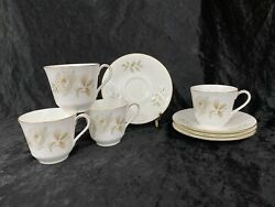 Royal Doulton Fine Bone China H5050 Yorkshire Rose Cups And Saucers - Set Of 4
